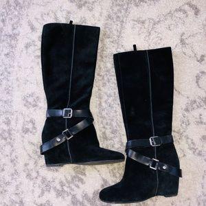(7) Franco Sarto wedged heel suede boots
